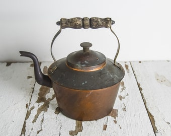 Vintage Antique Copper Tea Pot Teapot Kettle with Brass and Wood Wooden Handle Made in England