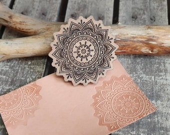 Mandala Wooden stamp for leather crafting