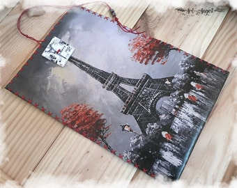 Paris Eiffel Tower, Leather Tobacco Pouch, Decoupage, Wooden Gifr Box, Printed Leather, Woman Accessory pouch, Printed Wallet, Red Grey