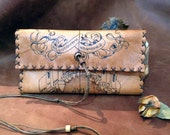 Genuine Leather, Tobacco Pouch, tobacco case, pyrography on leather, handmade pouch, Castle map, portatabacco