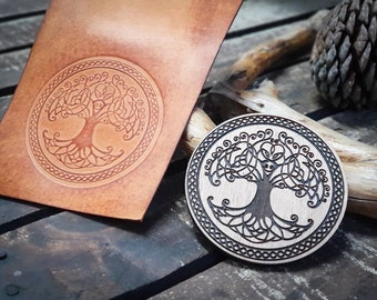 Tree Wooden stamp for leather crafting   9cm diameter