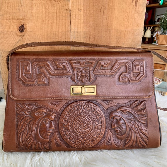 Fantastic 1970s hand tooled leather purse