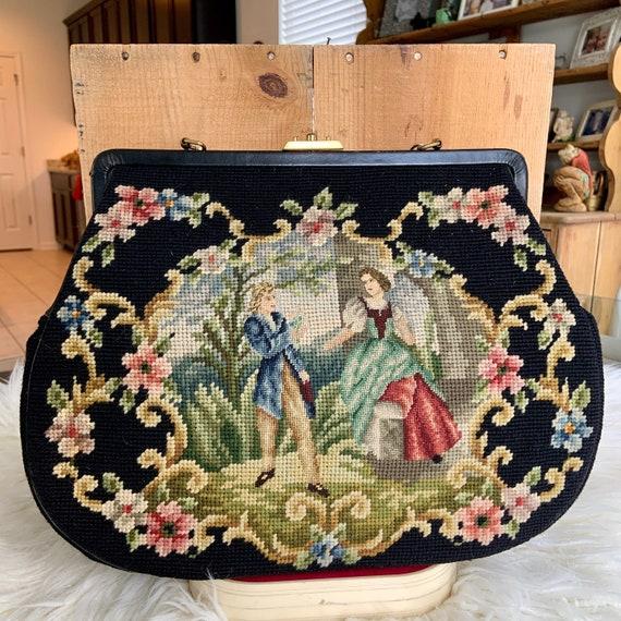 Large Fairytale needlepoint black purse with fabul