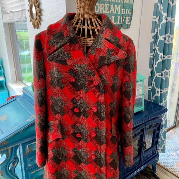 Sixties double breasted plaid coat.