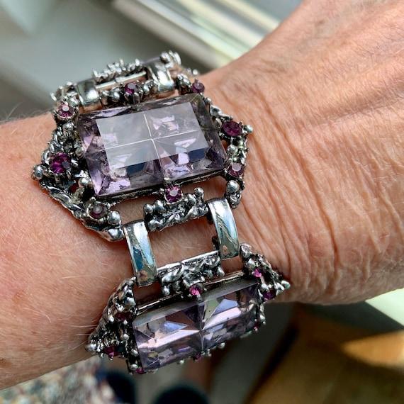 1940s windowpane cut glass amethyst bracelet