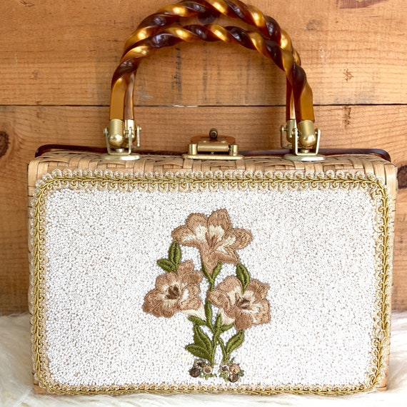 Stunning Lucite and beaded,wicker purse