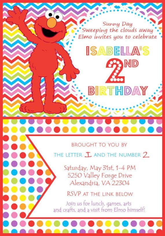 Printable Editable Elmo Birthday Party Invitation Digital Etsy