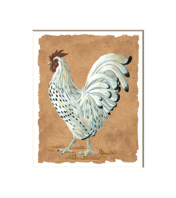 Painterly Roosters on Dark Blue Background Rooster Wallpaper Border