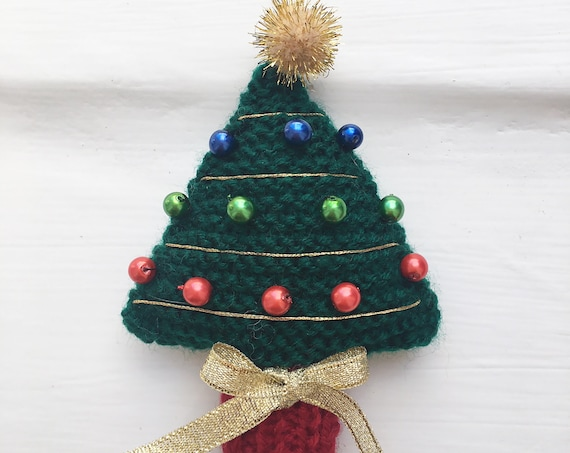 Chrismas Tree hanging decoration Knitting Pattern PDF