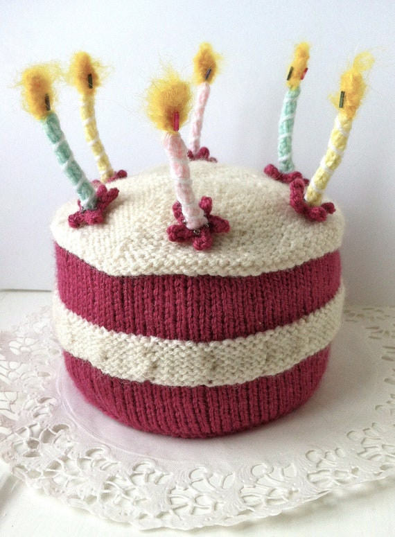 Birthday Cake with Lit Candles Knitting Pattern PDF