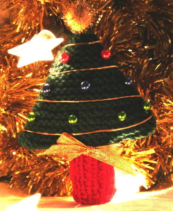 Knitting Pattern for Chrismas Tree hanging tree decoration