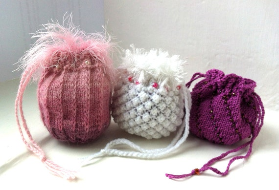 Trio of Keepsake Bags Knitting Pattern PDF