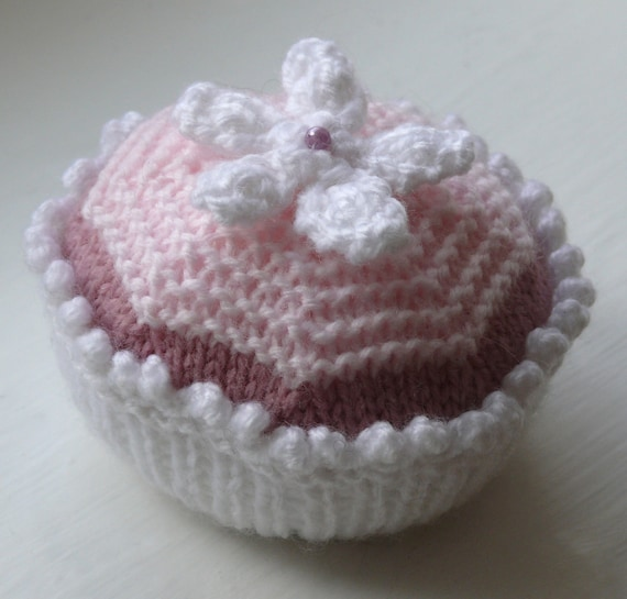 Flower Cupcake Knitting Pattern PDF