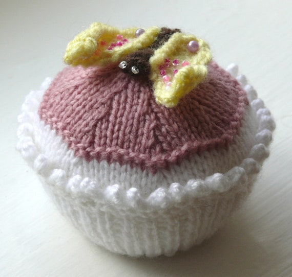 Butterfly Cupcake Knitting Pattern PDF
