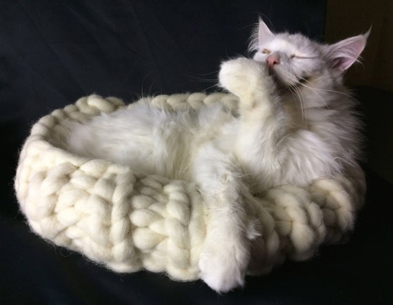Knitting Pattern for Giant Wool Cat Basket, kitty bed