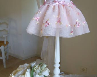 ROMANTIC LACE ON TULLE PETTICOAT LAMPSHADES EMBROIDERED