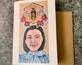 Queen Bee Blank Greeting Card I Blank Note Card
