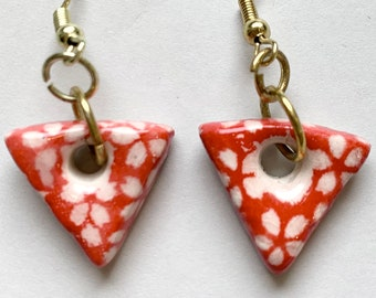 Earrings: Handcrafted Ceramic Essential Oil Diffuser (Red)