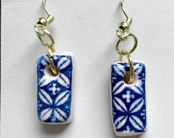 Earrings: Handcrafted Ceramic Essential Oil Diffuser (Blue)