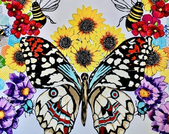Butterfly Garden Art Print, Multiple Sizes