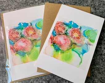 Ink Flowers Blank Greeting Card I Blank Note Card