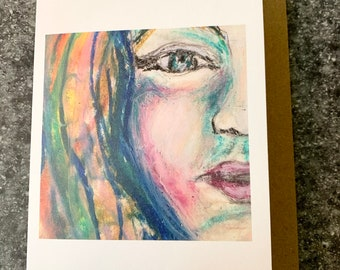 Pastel Amy Blank Greeting Card I Blank Note Card