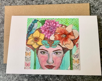 Flower Girl Blank Greeting Card I Blank Note Card