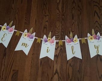 custom unicorn banner/flags/fiesta/birthday/paper flowers/gold/rainbow/girl