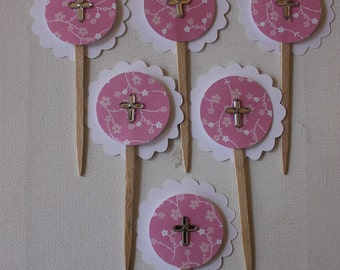 cake topper/cup cake topper/cross/baptism/tooth pick/pink/boy/girl