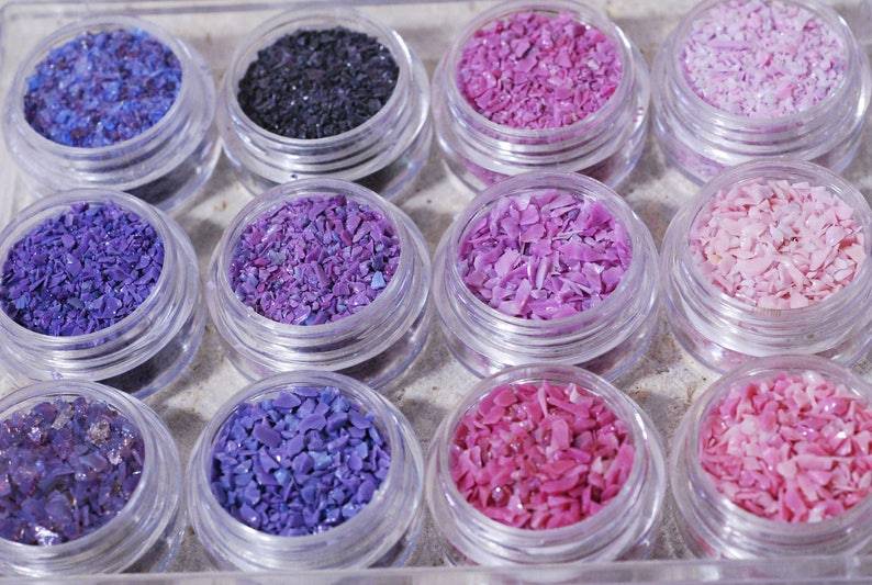 Frit Mini Sample Set Pinks and Purples suitable for use on glass COE 90 to CoE 104 Glass Frit CoE 92-96
