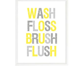 Yellow Bathroom Etsy
