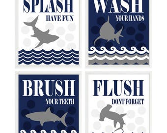 Kids Shark Bathroom Wall Art, Shark Print, Wash, Flush, Brush, Splash, Navy  Blue, White, Gray, Shark Theme, Shark Art, Boy Bathroom Art