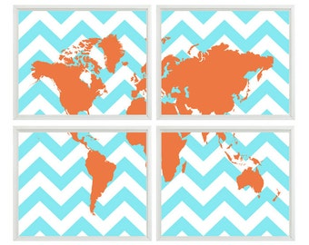 Chevron World Map Wall Art Print    - Aqua Orange Decor Children Kid Room - Wall Art Home Decor