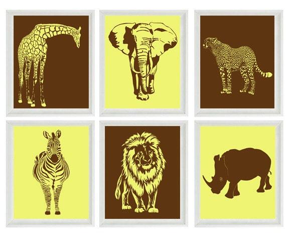 Safari Kinderzimmer Wand Kunstdrucke Braun Gelb Dekor | Etsy