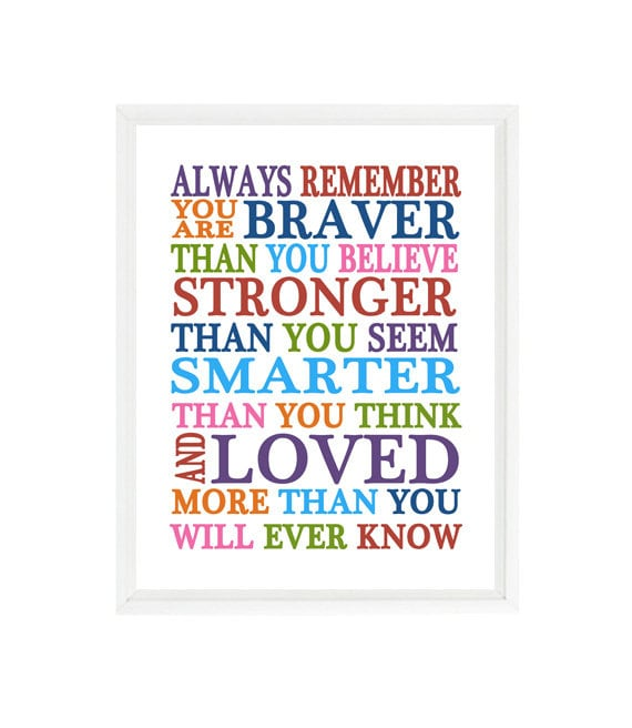 Always Remember You Are Braver Than You Believe Quote Nursery Etsy