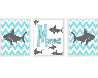 Shark Nursery Art Prints, Personalized Nursery Art, Turquoise Gray, Chevron Print, Baby Boy Nursery, Toddler Boy Room, Shark Bathroom Art