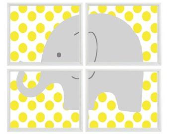 Elephant Nursery Wall Art Print    - Yellow Gray Decor Polka Dots Children Kid Baby Room - Wall Art Home Decor