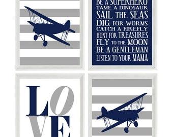 Airplane Nursery Art - Navy Blue Gray Stripes Boy Room Aviation Flying - Boy Rules LOVE - Baby Boy Nursery Toddler Big Boy Room Wall Art