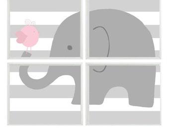 Elephant Nursery Art  - Bird Stripes Gray Pink - Baby Girl Nursery Children Kid room - Wall Art Home Decor -  Print