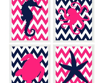 Sea Creature Wall Art, Beach Nursery Art, Girl Room, Starfish, Sea Turtle, Octopus, Seahorse, Hot Pink, Navy Blue, Chevron, Beach House Art