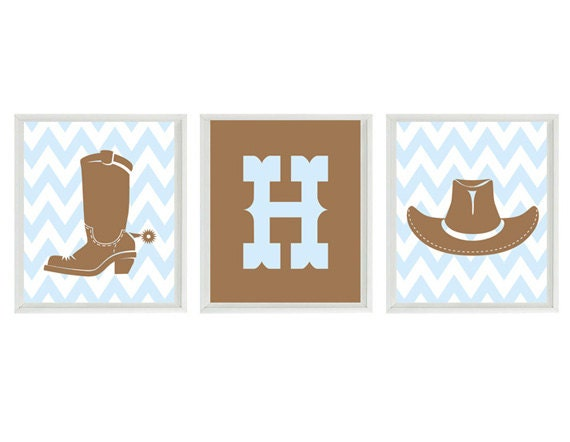Cowboy Nursery Art Print Set Chevron Western Hat Boots  33c3296a7359