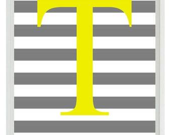 Initial Letter Art Print -  Nursery Children Kid Room Yellow Gray Stripes Personalized  - Wall Art Home Decor  Print