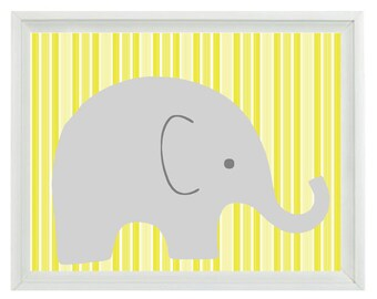 Elephant Nursery Wall Art Print - Yellow Gray Stripes Children Kid Baby Room - Wall Art Home Decor  Print