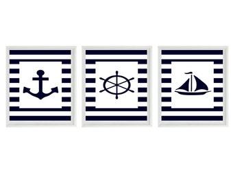 Nautical Nursery Sailboat Anchor Wall Art Print  - Navy Blue White Stripes - Children Room Home Decor Beach House