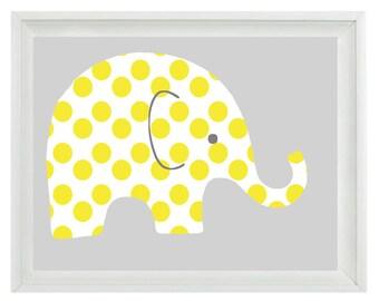 Elephant Nursery Wall Art Print - Yellow Gray Decor Polka Dots Children Kid Baby Room - Wall Art Home Decor  Print