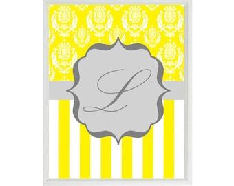 Monogram Yellow Gray Decor - Initial Letter Art Print -  Nursery Children Kid Room Damask Stripes Personalized  - Wall Art Home Decor