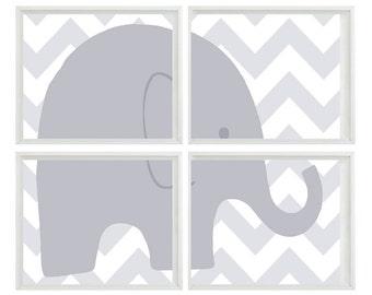 Elephant Chevron Nursery Wall Art Print    - Gray Neutral Decor - Baby Children Kid room - Wall Art Home Decor