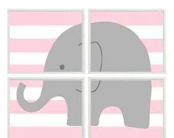 Nursery Art Elephant Print Set - Pink Stripes Gray Decor - Baby Girl Children Kid room -  Wall Art Home Decor -