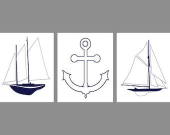 Nautical Wall Art Print  -Sailboat Anchor  Navy Blue White - Baby Nautical Nursery Children Room Home Decor