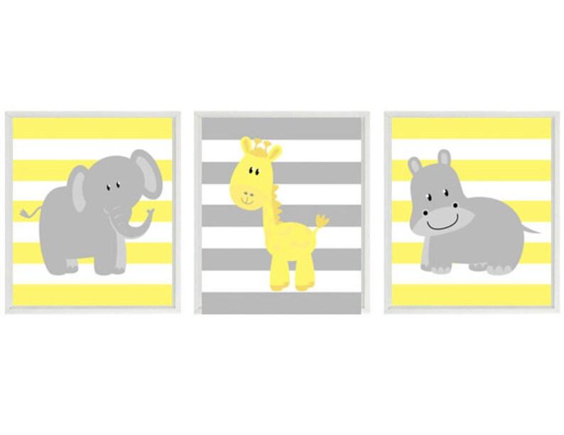 Elephant Giraffe Baby Neutral Home Safari Decor Wall Yellow Print Set Nursery Gray Art Room Hippo Stripes N8wvynmP0O